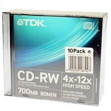 TDK CD-RW 700MB 80 MINUTEN 4X-12X PACK 10 EINHEITEN-