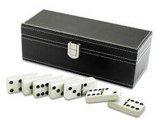 Traditional Dominoes in Black Faux Leather Case - Brand New
