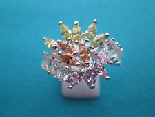 925 Sterling Silver, Natural Multi Gemstone, Cluster Ring Size S, US 9  (rg0712)