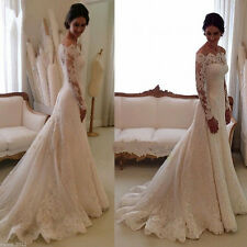 New White Ivory  Bridal Wedding Dress Lace Gowns Custom Made 6 8 10 12 14 16 18
