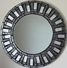 NEW LARGE MODERN ROUND WALL MOUNTED BEVELLED GLASS HANDMADE SILVER MOSAIC MIRROR