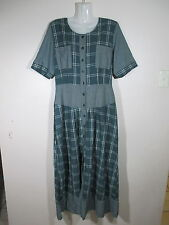 Celia Ryan Womens Size 14 Dress, Vintage Checkered green designer white