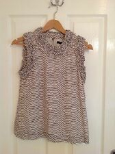 LADIES 'FRENCH CONNECTION' BEIGE STRIPE SLEEVELESS TOP. SIZE 6. GOOD CONDITION.