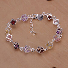 925 Sterling Silver Filled Womens FASHION Colors Zircon Stone Charm Bracelet