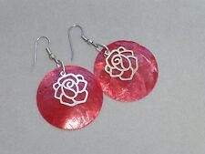 Ohrringe Ohrhänger Perlmutt-Muschel Scheibe rot mit Rose silber *GO140414*