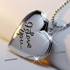 Unique I Love You Silver Heart Locket Necklace Xmas Gifts For Her Wife Women A1