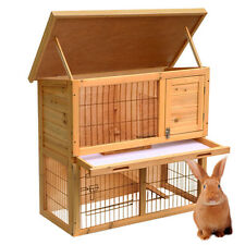 Wooden Rabbit Guinea Pig Ferret Hutch Run 2 Tier Pet House Chicken Coop Cage
