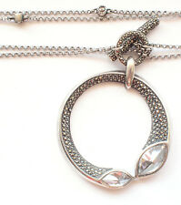 Adjustable 925 Sterling Silver Chain Round Clear Gem Stones Circle Fine Bling