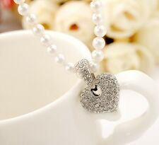 18K White Gold Filled Ladies Cute SWAROVSKI Crystal Heart Pendant Pearl Necklace
