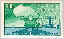 GABON GABUN 1970 373 260 ASECNA Flugsicherheitsdienst Airplane Flugzeug Map MNH
