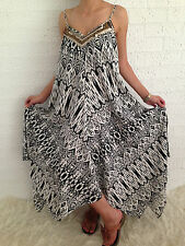 Women's Sleeveless Boho Gypsy Floaty Summer Maxi Long Casual Dress Size 14-16