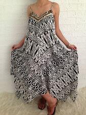 Women's Sleeveless Boho Gypsy Floaty Summer Maxi Long Casual Dress Size 14-16