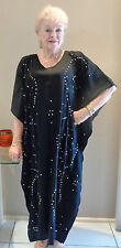 Long Kaftan Dress Classic Boho Embroidered & Sequined Plus Size 14-24 New