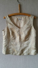 """Vintage Gold Laura Ashley Ladies Top with V Neck and Buttons - Size Medium 36"""""""