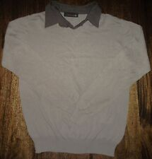 Mens Beige Brown Plain Thin Knit V Neck Jumper Top Sweater Size L Large XL Xtra