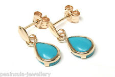9ct Gold Turquoise Teardrop Earrings Made in UK Gift Boxed
