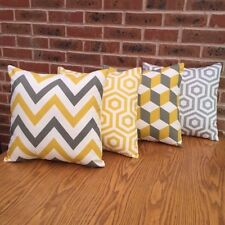Cushion Cover Sofa Pack of 4 x Yellow and Grey Geometric 16""