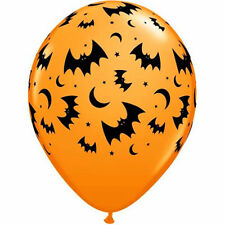 """Bats and Moons Orange Balloons 28cm (11"""") Pack of 10 Halloween Party Decoration"""