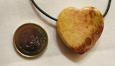 VERSTEINERTE KORALLE Herz Anhänger gebohrt ca. 30 mm mit Lederband