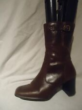 WOMEN NEW LOOK BROWN LEATHER ZIP UP ANKLE BOOT  UK 4/ EU 37