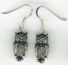"925 Sterling Silver Owl with Garnet Eyes Drop / Dangle Earrings  Length 1.3/8"""