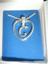"""AVON silver plated """"C"""" pendant necklace. NEW."""