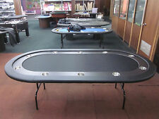 """84""""  7 FOOT PRO POKER TABLE WITH SPEED FELT [BLACK] + STAINLESS STEEL JUMBO CUP"""