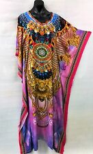 Colourful Maxi Satin Like Embellished Kaftan Tunic Size 8-10-12-14 Free Post