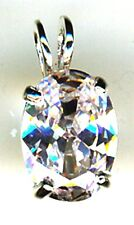 925 Sterling Silver Oval Clear Cubic Zirconia 1 Stone Pendant Length 18mm   3/4""