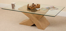 Milano Oak Glass Wood Coffee Table Cross Leg Wooden Living Room Furniture