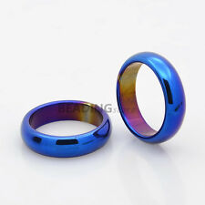 1pc Blue Plated Electroplate Non-Magnetic Hematite Wide Band Rings 17mm
