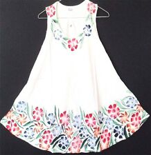 GYPSY PEASANT EMBROIDERED & PAINTED FLORAL WHITE TUNIC TOP 12 14 16  18 114 CMS