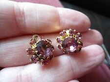 PRETTY PAIR OF GOLD PLATED AMETHYST & PINK GLASS FLOWER CLIP ON EARRINGS SMALL,
