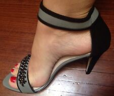 Mimco $199 Sexy Black Patent Leather Wedges Heels Sandals Shoes 7 Or 38