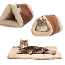 Cat Dog Bed Pet Kitten Mat Puppy Cave Tunnel Kennel House Pad Tent 2 in 1