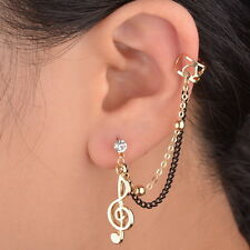 Vogue Music Note Crystal Gold Plated Clip Gothic Ear Cuff Chain Stud Earring