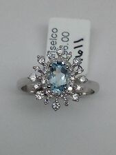 14k White Gold Oval Shape Aquamarine and Diamond Halo Starburst Ring Size 7.25