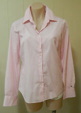 Tommy Hilfiger 8 pink button front 100% cotton long sleeved blouse