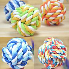 H Pet Puppy Chew Toy Clean Teeth Bone Dog Cotton Rope Ball Play Braided Knot Fun