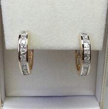 9ct Gold Plated Channel Set Huggie Hoop Earring 18mm x 5mm.