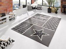 Design Teppich Star Stern Kurzflor Modern Grau Velours 140cm x 200cm NEU 102397
