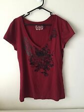 Guess Short Sleeve V neck Maroon Top Size L Large