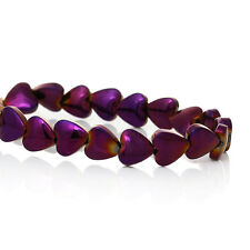 Natural Hematite Beads Heart Purple 1 Strand (Approx 72 PCs) DIY Jewellery