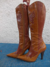 TOP END 2 TONE BROWN LEATHER & LEATHER LINED WESTERN STYLE BOOTS-SZ 37/6.5