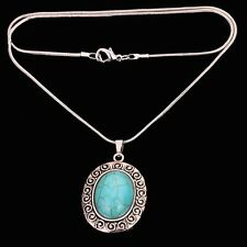 2016 Pretty sweater Jewelry Tibetan Silver oval Turquoise Pendant chain Necklace