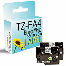 2 Compatible For TZFA4 Blue on White Fabric Tape 18mm x 3m Brother P-Touch