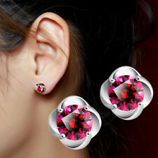 New Women Elegant Zircon 925 Sterling Silver Red CZ Crystal Flower Stud Earrings