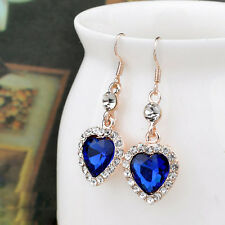 Forever Love Women Crystal Rhinestone Blue Oean Heart Drop/Dangle Earrings Gift