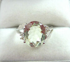 4.05 ctw Genuine Green Amethyst & Diamond Solid 18k White Gold Cocktail Ring