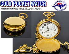 New Gold Mirror SHINY Mens Watch Analog Quartz Pocket Modern POUCH CHAIN FOB